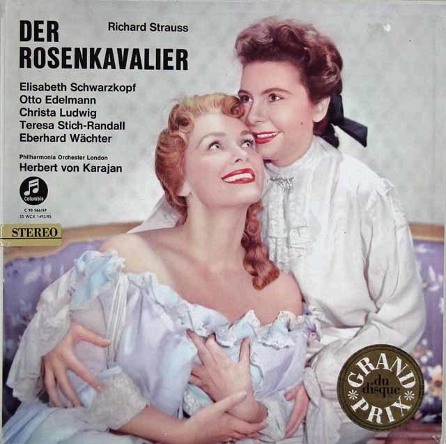 【ドイツ最初期盤】 カラヤンのR.シュトラウス/「ばらの騎士」全曲 独Columbia 3031 LP レコード