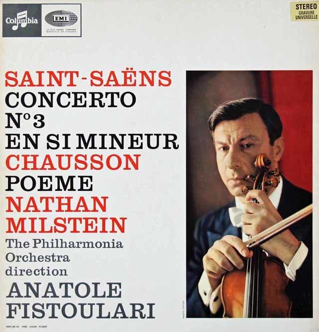 ミルシュタインのサン=サーンス/ヴァイオリン協奏曲第3番ほか 仏Columbia 3019 LP レコード