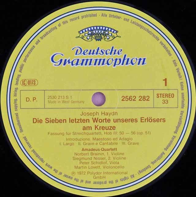 アマデウス四重奏団のハイドン/弦楽四重奏曲集 独DGG 2930 LP レコード