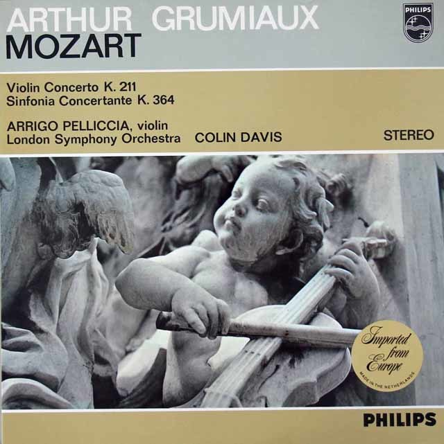 グリュミオー&デイヴィスのモーツァルト/ヴァイオリン協奏曲第2番ほか 蘭PHILIPS 3019 LP レコード