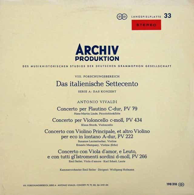 【赤ステレオ】ラウテンバッハーらのヴィヴァルディ/協奏曲集 独ARCHIV 2920 LP レコード