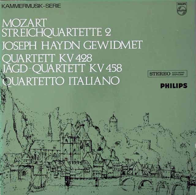 イタリア四重奏団のモーツァルト/弦楽四重奏曲第16&17番「狩」 蘭PHILIPS 3019 LP レコード