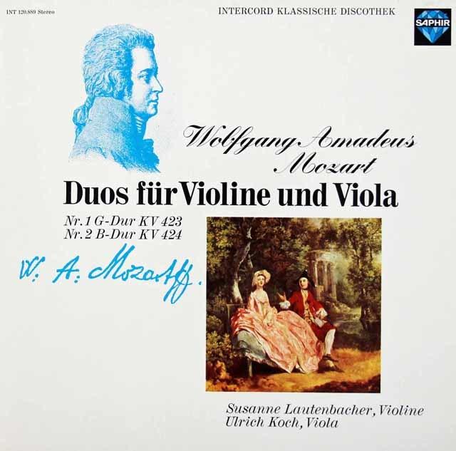 ラウテンバッハー&コッホのモーツァルト/ヴァイオリンとヴィオラのための二重奏曲第1&2番 独SAPHIR 3036 LP レコード