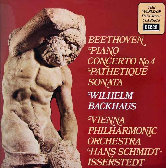 バックハウス&イッセルシュテットのベートーヴェン/ピアノ協奏曲第4番&ピアノソナタ「悲愴」 英DECCA 3023 LP レコード