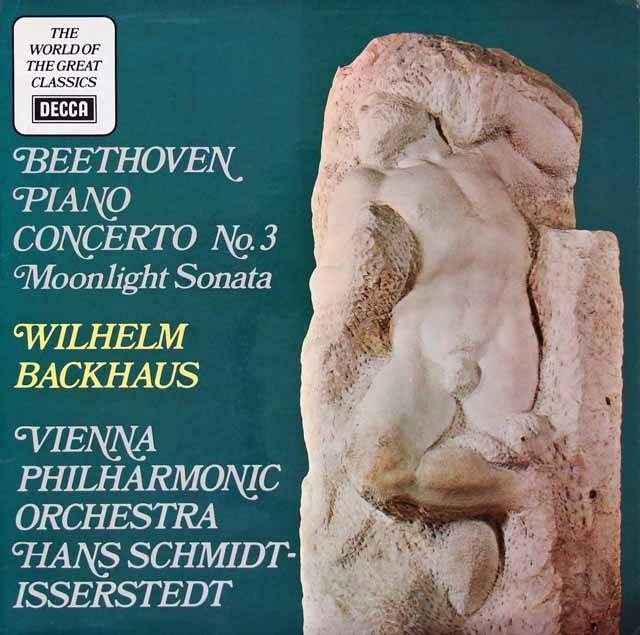 バックハウス&イッセルシュテットのベートーヴェン/ピアノ協奏曲第3番&ピアノソナタ「月光」 英DECCA 3023 LP レコード