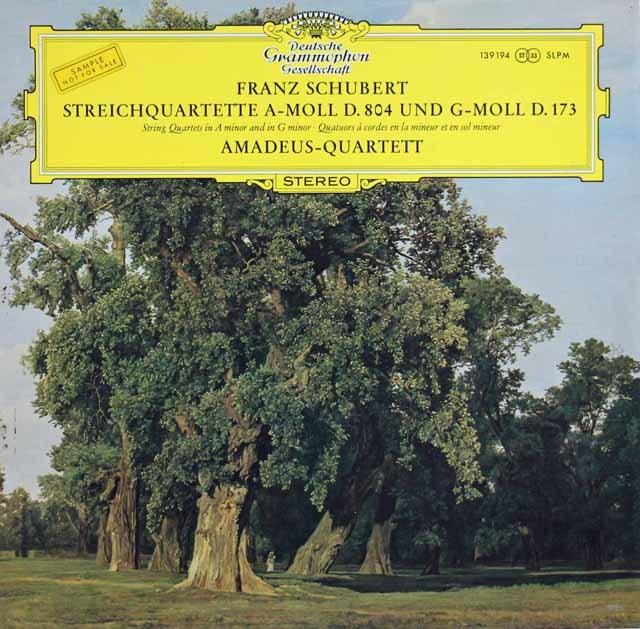 アマデウス四重奏団のシューベルト/弦楽四重奏曲第9&13番「ロザムンデ」  独DGG 3282 LP レコード