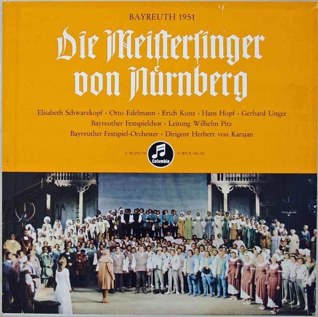 カラヤンのワーグナー/「マイスタージンガー」(1951年バイロイト音楽祭ライヴ) 独Columbia 3036 LP レコード