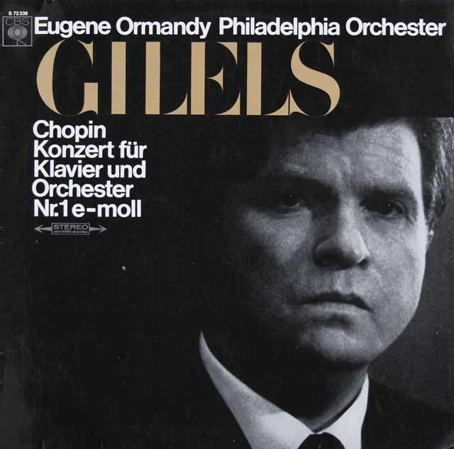 ギレリス&オーマンディのショパン/ピアノ協奏曲第1番 独CBS 3023 LP レコード