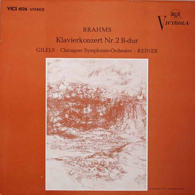 ギレリス&ライナーのブラームス/ピアノ協奏曲第2番  独RCA  2634 LP レコード