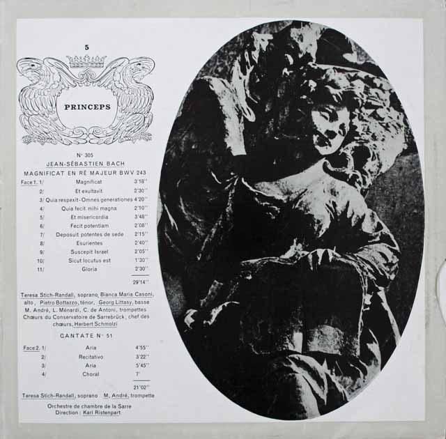リステンパルトのバッハ/カンタータ第51番&マニフィカト 仏CF 3229 LP レコード