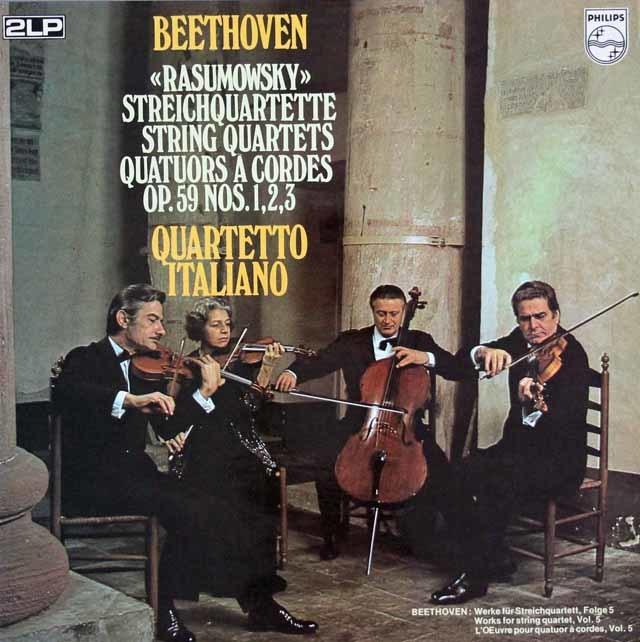 イタリア四重奏団のベートーヴェン/ラズモフスキー四重奏曲 蘭PHILIPS 3035 LP レコード