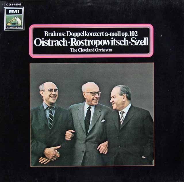 オイストラフ、ロストロポーヴィチ&セルのブラームス/二重協奏曲 独EMI 3282 LP レコード