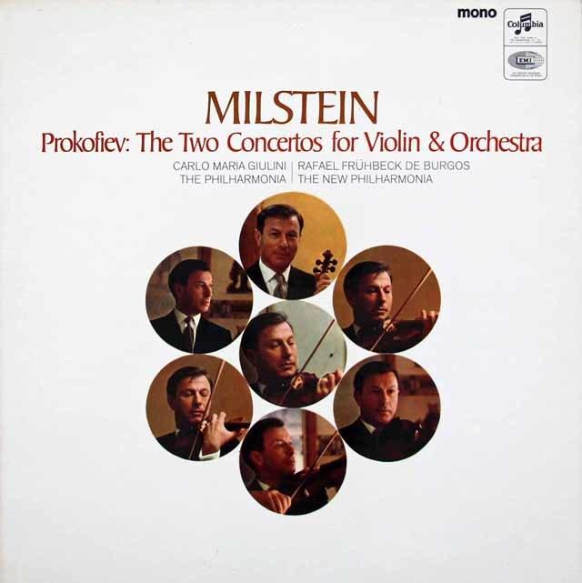 ミルシュタイン&ジュリーニ、ブルゴスのプロコフィエフ/ヴァイオリン協奏曲第1&2番 英Columbia 3025 LP レコード