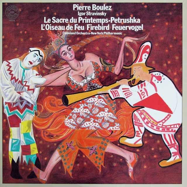 【直筆サイン入り】 ブーレーズのストラヴィンスキー/「火の鳥」「春の祭典」「ペトルーシュカ」 独CBS 3219 LP レコード