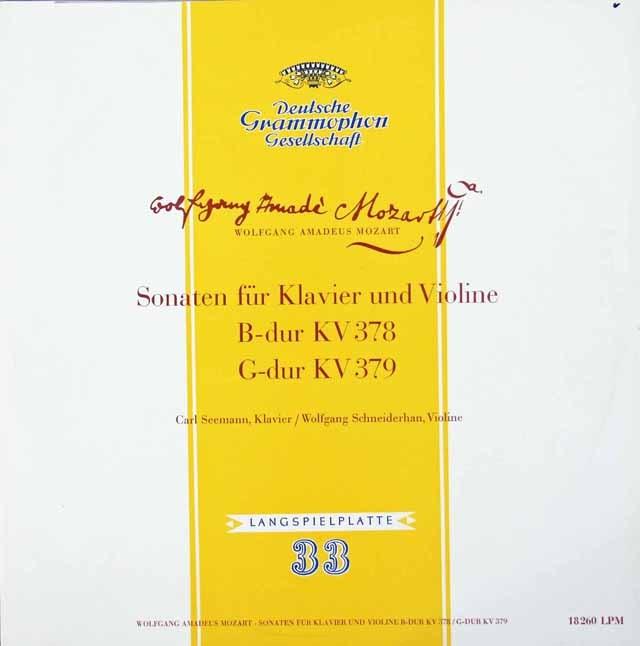 ゼーマン、シュナイダーハンのモーツァルト/ヴァイオリンソナタ第34、35番 独DGG 3392 LP レコード