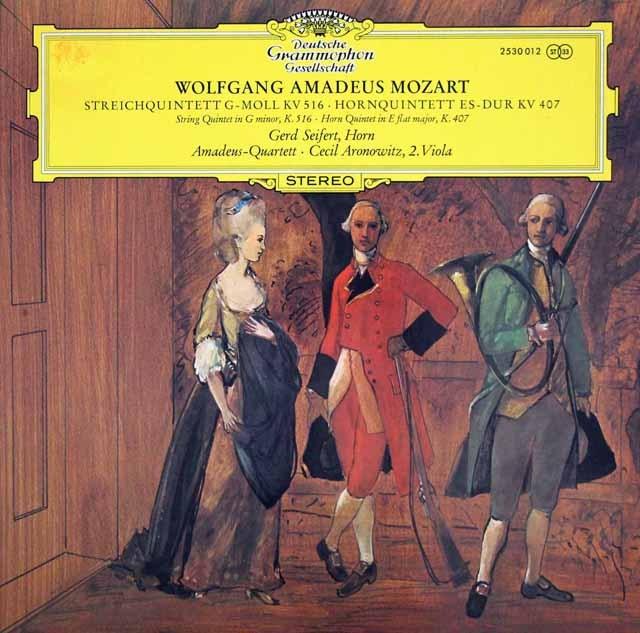 アマデウス四重奏団ほかのモーツァルト/弦楽五重奏曲第4番 独DGG 2935 LP レコード