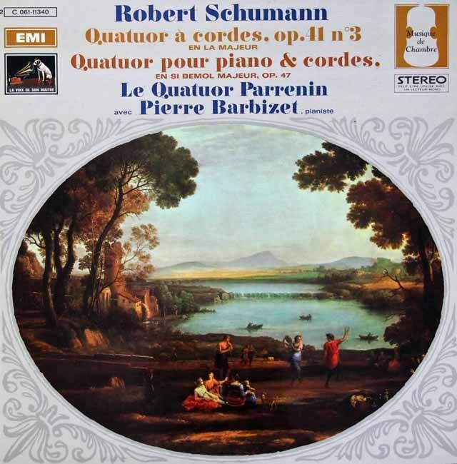 パレナン四重奏団、バルビゼのシューマン/弦楽四重奏曲第3番、ピアノ四重奏曲 仏EMI(VSM) 3392 LP レコード