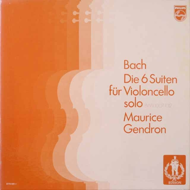 ジャンドロンのバッハ/無伴奏チェロ組曲全集  蘭PHILIPS 2621 LP レコード