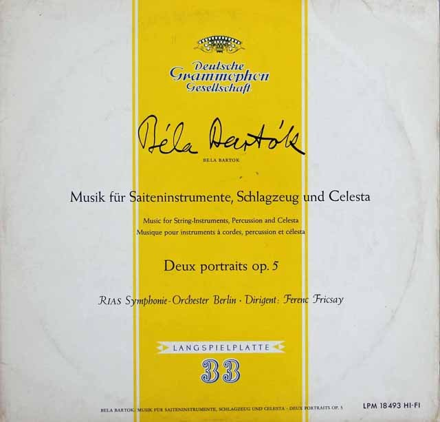 フリッチャイのバルトーク/弦楽器と打楽器とチェレスタのための音楽 独DGG 3283 LP レコード