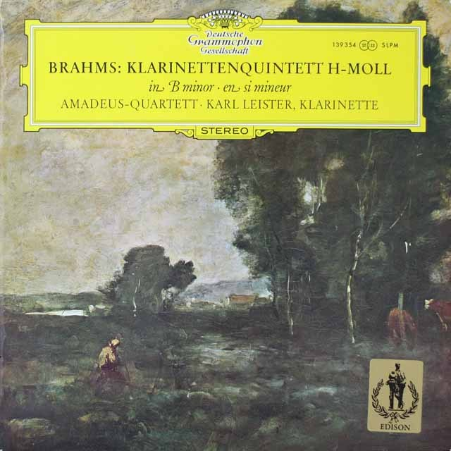 アマデウス四重奏団&ライスターのブラームス/クラリネット五重奏曲  独DGG  2638 LP レコード