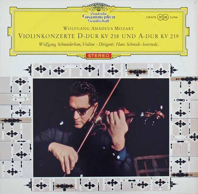 【オリジナル盤/赤ステレオ】 シュナイダーハンのモーツァルト/ヴァイオリン協奏曲第4&5番 独DGG 3281 LP レコード