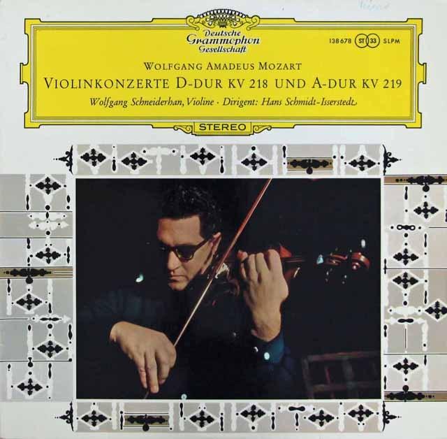シュナイダーハンのモーツァルト/ヴァイオリン協奏曲第4&5番 独DGG 3283 LP レコード