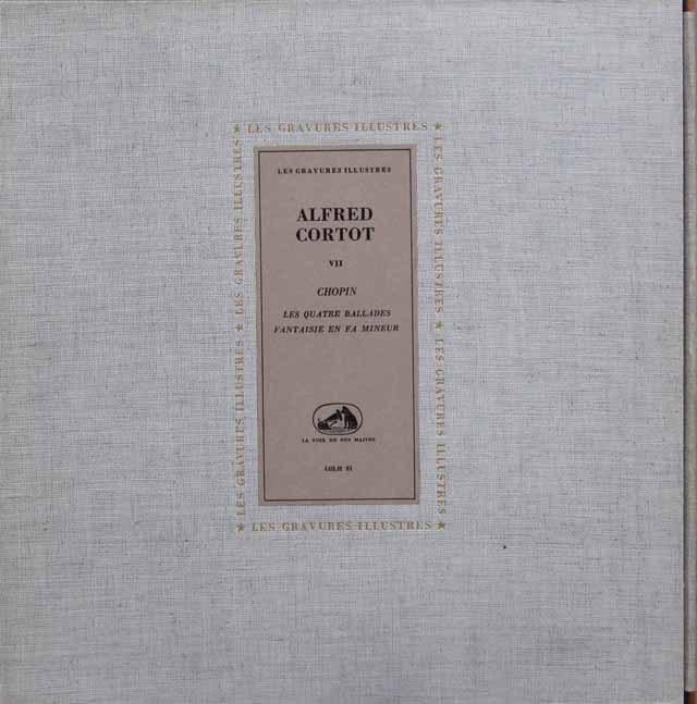 コルトーのショパン/バラード第1~4番&幻想曲ヘ短調 仏EMI(VSM)  2918 LP レコード
