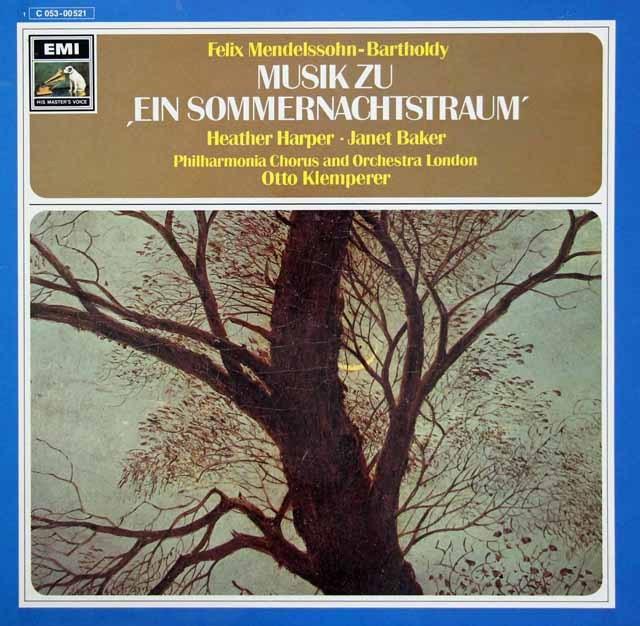 ハーパー、ベイカー&クレンペラーのメンデルスゾーン/「真夏の夜の夢」 独EMI 3294 LP レコード