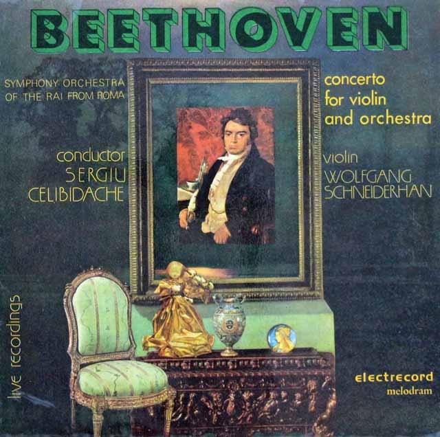 シュナイダーハン&チェリビダッケのベートーヴェンー/ヴァイオリン協奏曲 ルーマニアELECTRECORD 2845 LP レコード