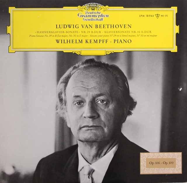 【モノラル】 ケンプのベートーヴェン/ピアノソナタ第29番「ハンマー・クラヴィーア」&第30番 独DGG 2995 LP レコード