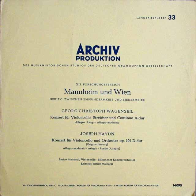 マイナルディのハイドン&ヴァーゲンザイル/チェロ協奏曲集 独ARCHIV 3229 LP レコード