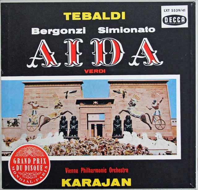 【モノラル】 カラヤンのヴェルディ/「アイーダ」 独DECCA 2995 LP レコード