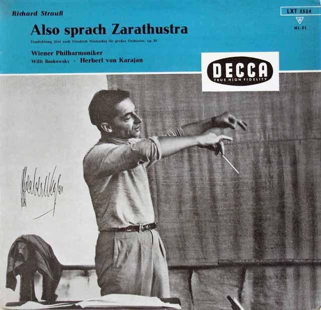 【モノラル】カラヤンのR.シュトラウス/交響詩「ツァラトゥストラはかく語りき」 独DECCA 2995 LP レコード