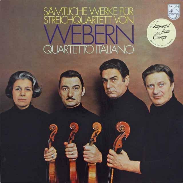 イタリア四重奏団のウェーベルン/弦楽四重奏曲集  蘭PHILIPS   2525 LP レコード