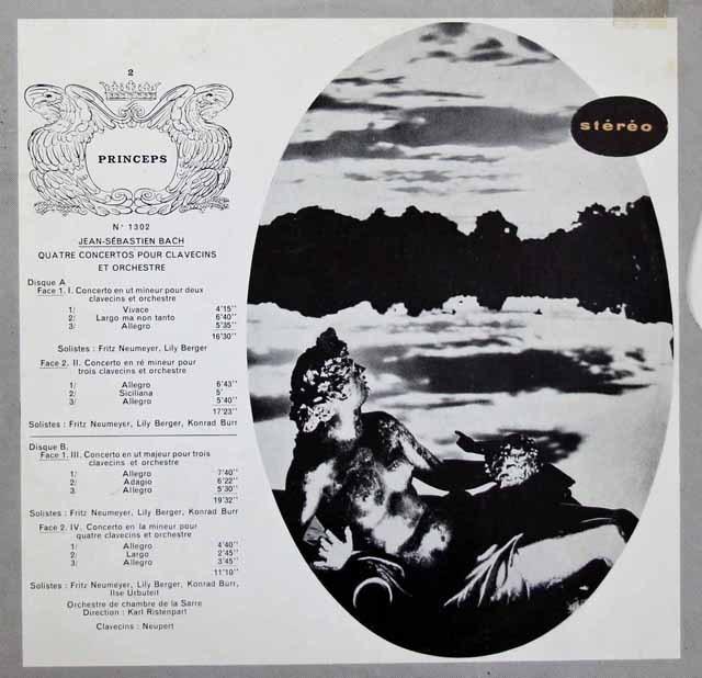 ノイマイヤー、ベルガー、ブール&リステンパルトのバッハ/二台のチェンバロのための協奏曲ほか 仏CF 10インチ 2847 LP レコード