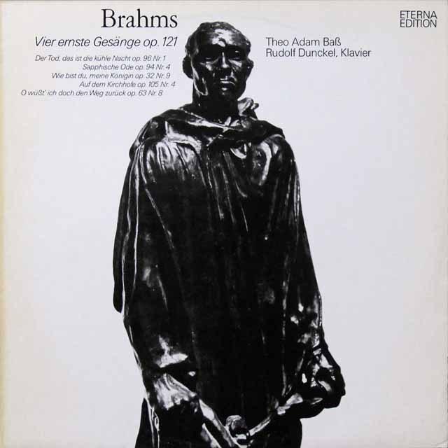 【テストプレス】 テオ・アダムのブラームス/4つの厳粛な歌ほか 独ETERNA 3223 LP レコード