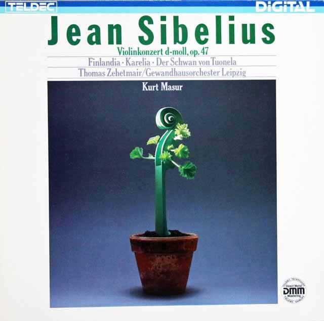 ツェートマイヤー&マズアのシベリウス/ヴァイオリン協奏曲  独TELDEC  3001 LP レコード