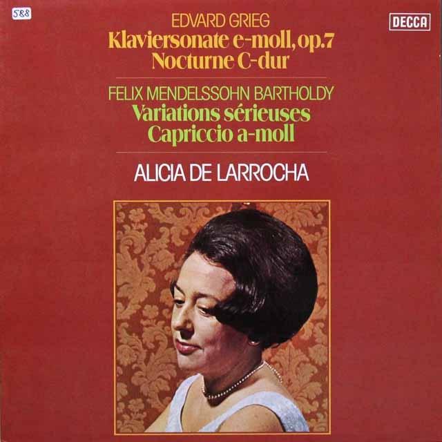 ラローチャのグリーグ&メンデルスゾーン/ピアノ作品集 独DECCA 3291 LP レコード