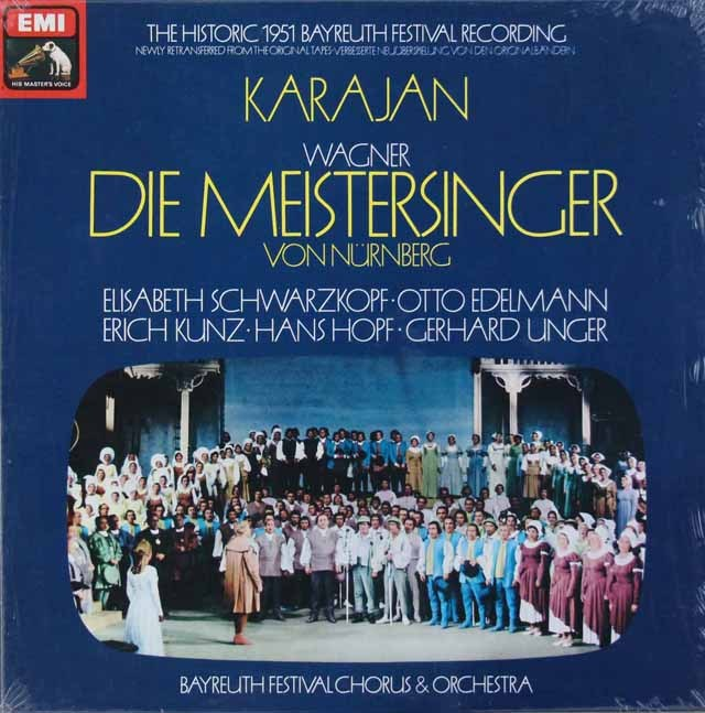 【未開封】 カラヤンのワーグナー/「マイスタージンガー」全曲 (1951年バイロイト音楽祭ライヴ録音) 英EMI 3294 LP レコード