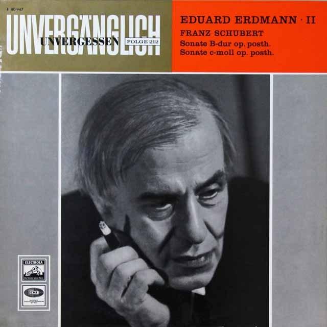 エルドマンのシューベルト/ピアノソナタ第20&21番 独EMI 3292 LP レコード