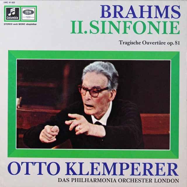 クレンペラーのブラームス/交響曲第2番&悲劇的序曲 独columbia 3292 LP レコード