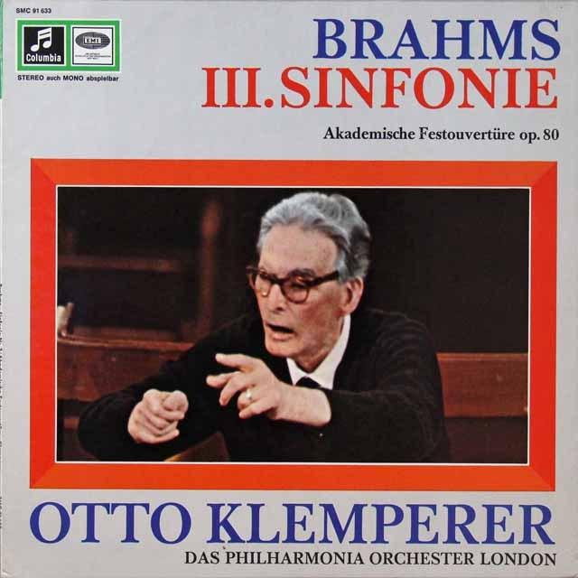 クレンペラーのブラームス/交響曲第3番&大学祝典序曲 独columbia 3292 LP レコード