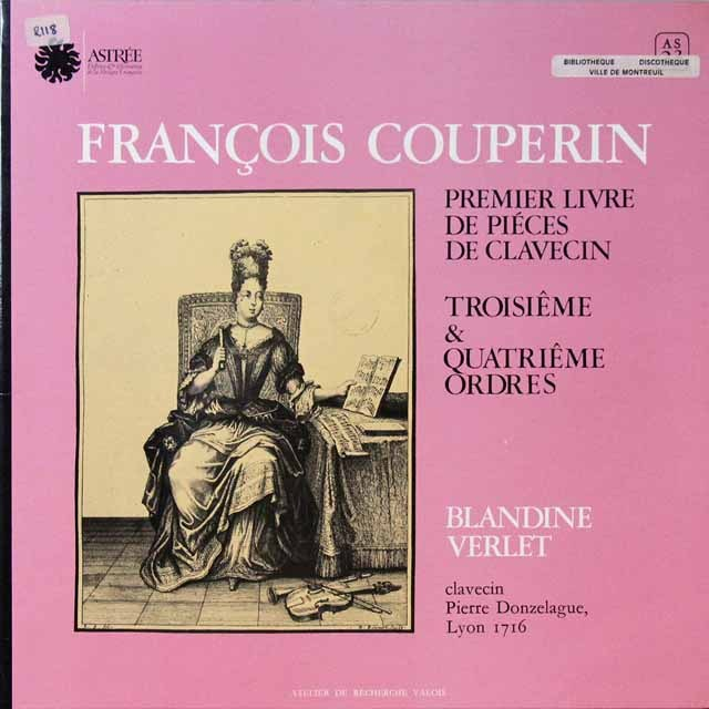 ヴェルレのクープラン/クラヴサン第3&4組曲集   仏ASTREE   2724 LP レコード