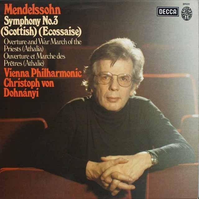 ドホナーニのメンデルスゾーン/交響曲第3番「スコットランド」ほか 仏DECCA 3230 LP レコード