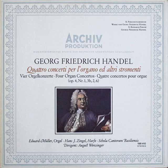 ミューラー&ヴェンツィンガーのヘンデル/オルガン協奏曲集 独ARCHIV 3230 LP レコード