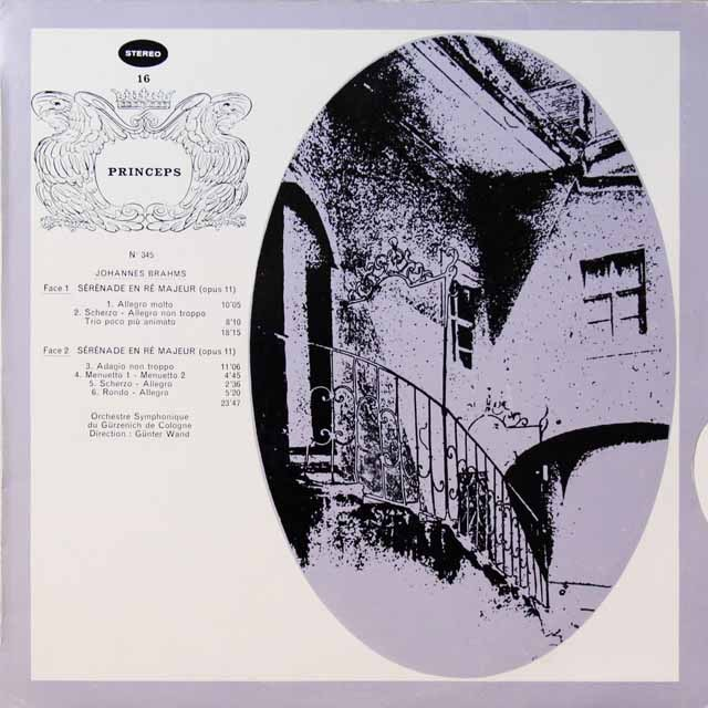 【ステレオ!】ヴァントのブラームス/セレナード第1番   仏CF   2721 LP レコード