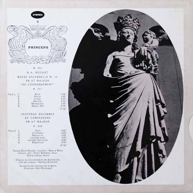 リステンパルトのモーツァルト/「戴冠式ミサ」ほか 仏CF   2716 LP レコード