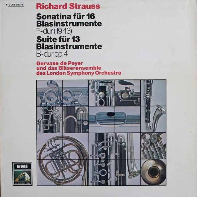 ドゥ・ペイエらのR.シュトラウス/「13管楽器のための組曲」ほか 独EMI 3301 LP レコード