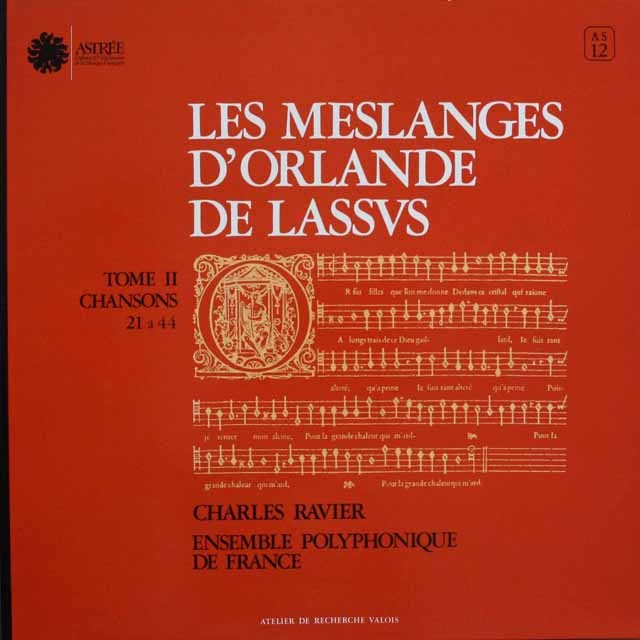 ラヴィエのラッソ/4声のシャンソン 仏ASTREE 3304 LP レコード