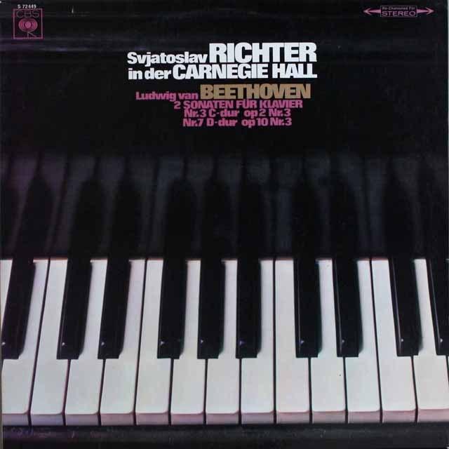 リヒテルのカーネギーホール・ライヴ(1) ベートーヴェン/ピアノソナタ第3&7番 独CBS 3305 LP レコード